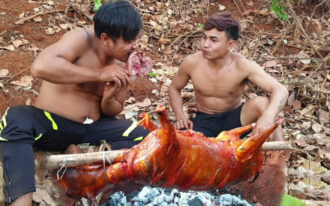 Catch And Cook Goat – Amazing Big Goat Cooking Recipe Eating Delicious To Survival